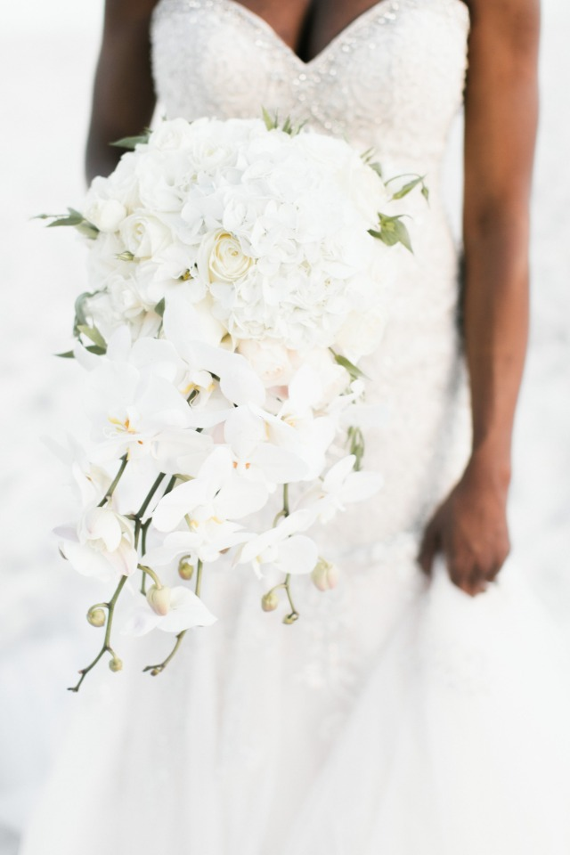 all white cascading bridal bouquet