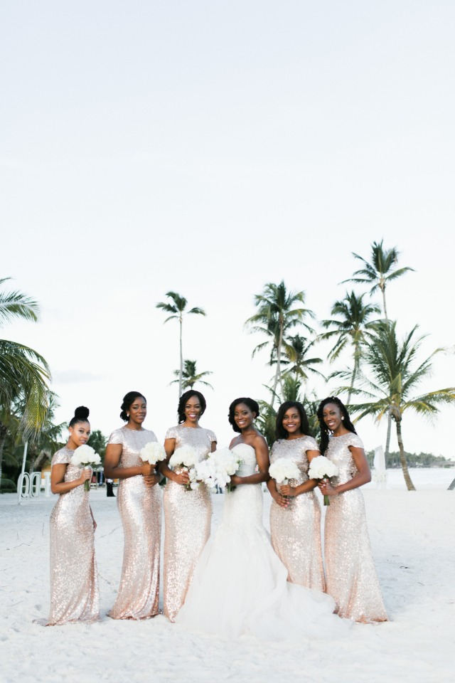bride and bridesmaids in rose gold sequin dresses