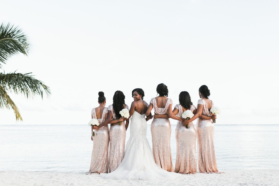 rose gold sequin bridesmaid dresses