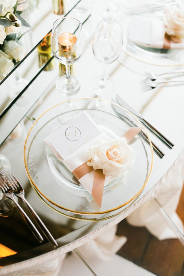 gold white and blush place setting