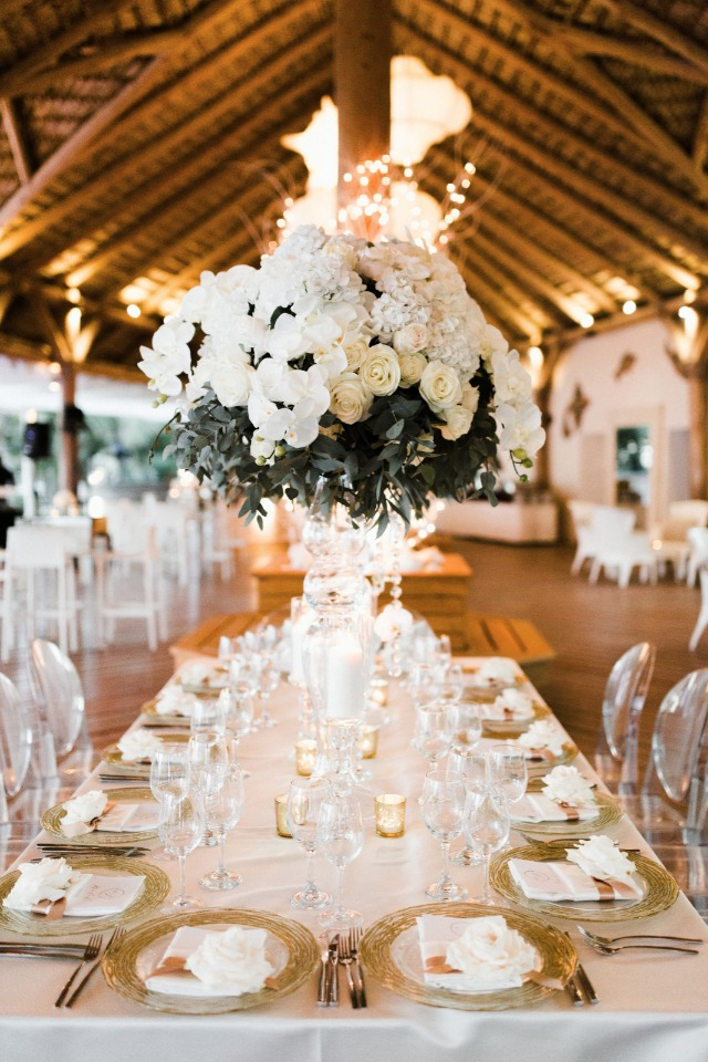gold and blush glam wedding reception