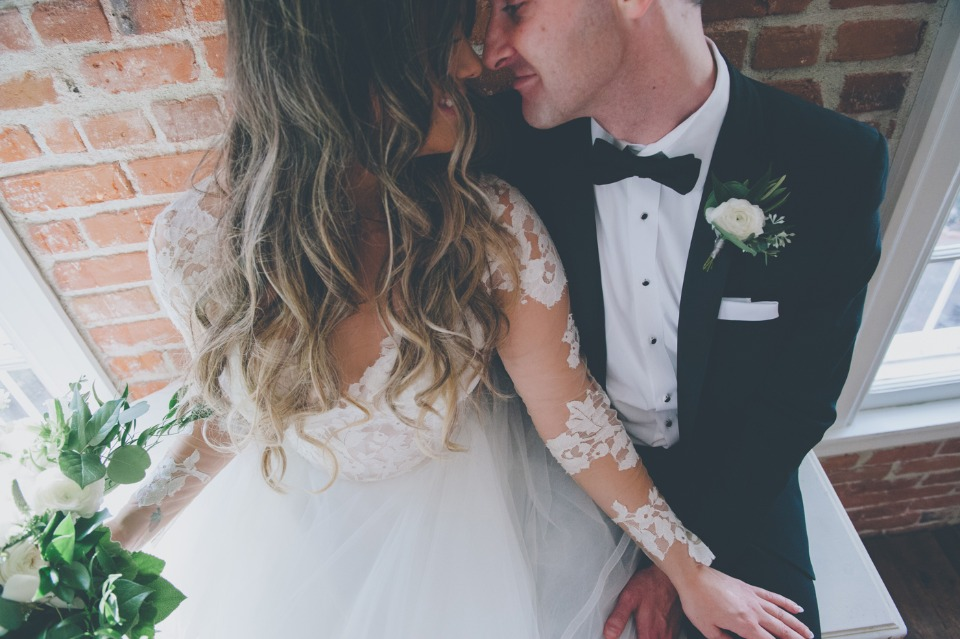 Cute shot of the bride and groom