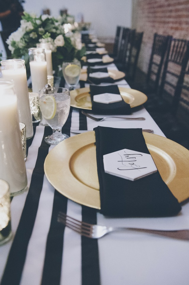Black white and gold table setting