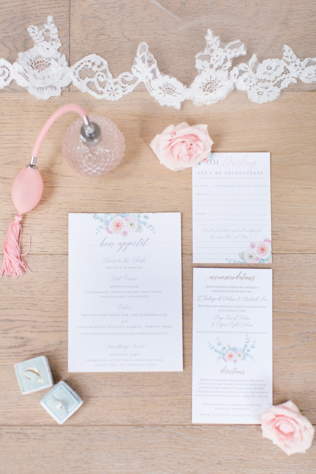 soft pink floral wedding stationery