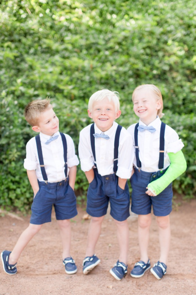 navy short and suspender ring bearers