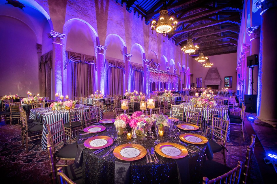 Lavish pink, gold and purple reception
