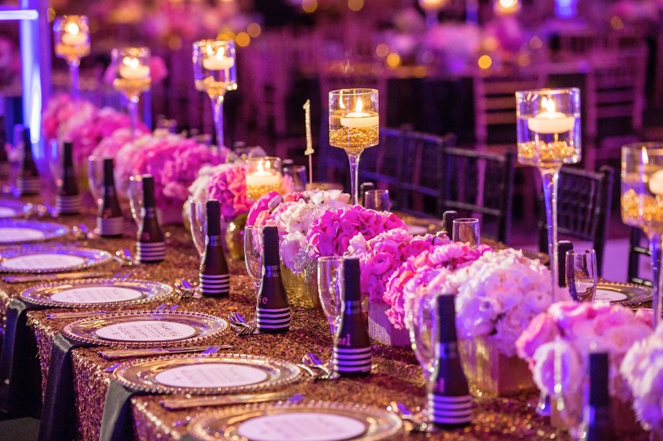 Love the moody pink and purple tones of this lavish reception