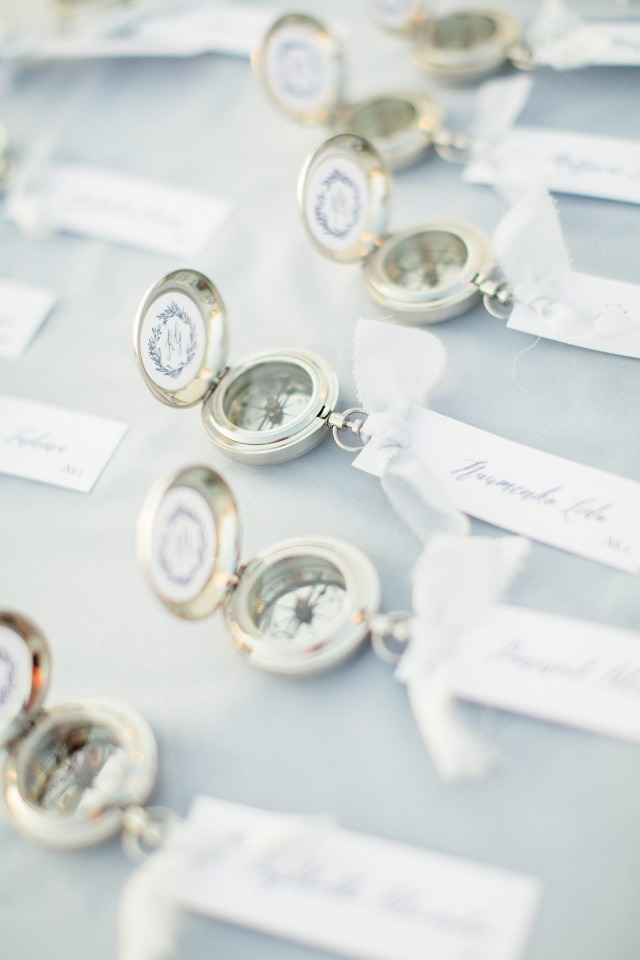 Personalized compass wedding favors