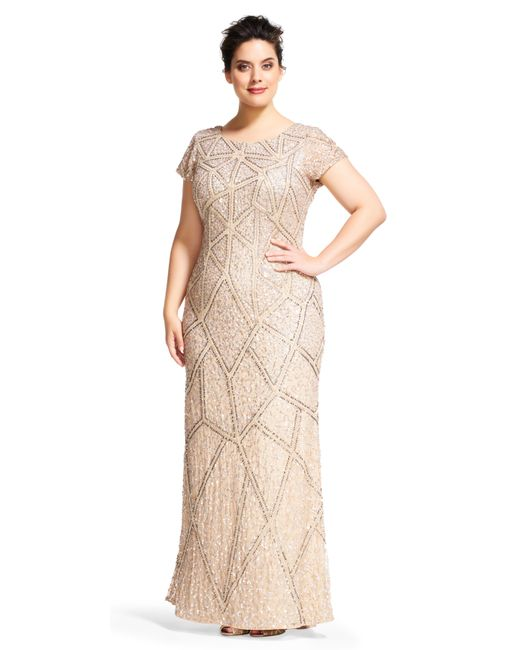 Adrianna Papell Short sleeve geometric sequin beaded dress with scoop back