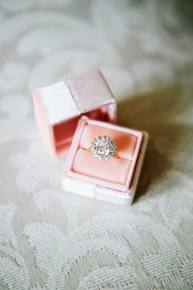 Sparkly ring in a pink box