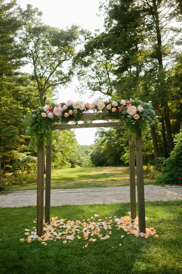Wood arbor with flowers
