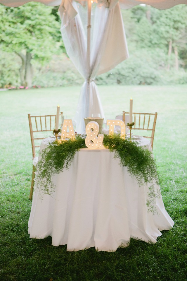 Marquee initials for the sweetheart table