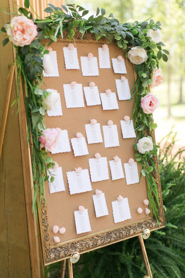 flower accented wedding seating display