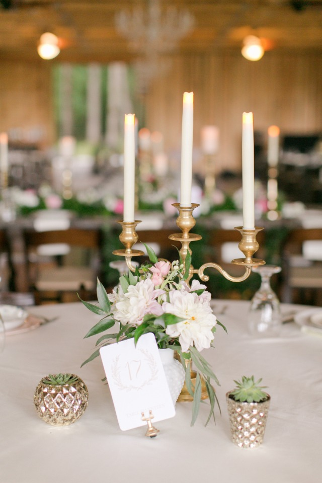 gold candelabras accented with fresh flowers