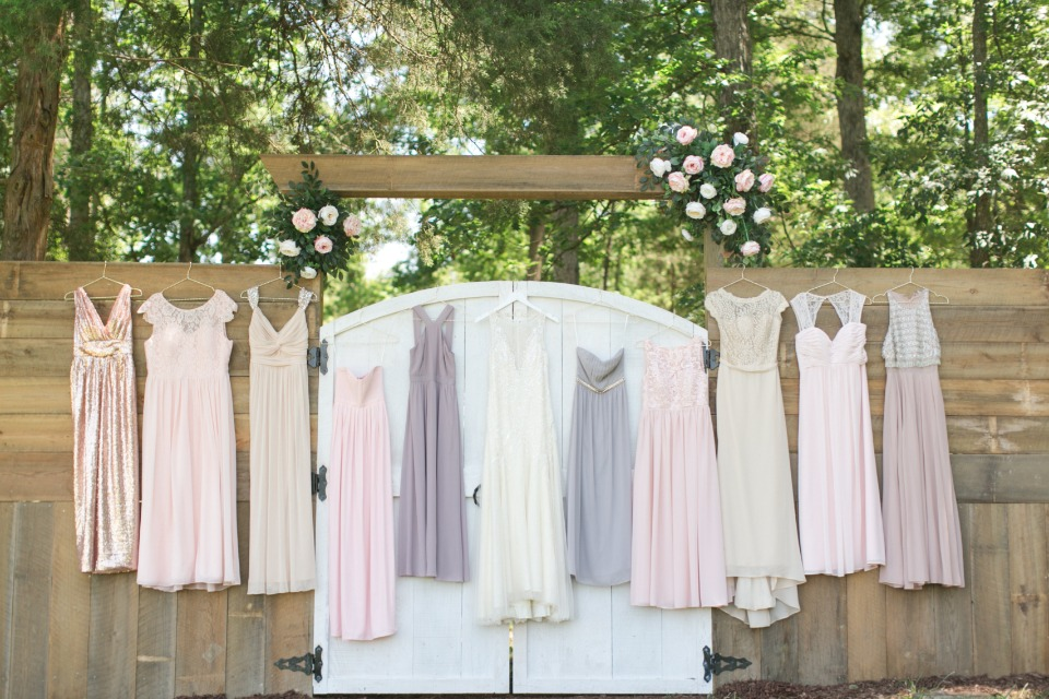 mix and matched bridal party dresses