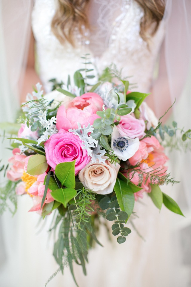 garden fresh pink and peach bouquet