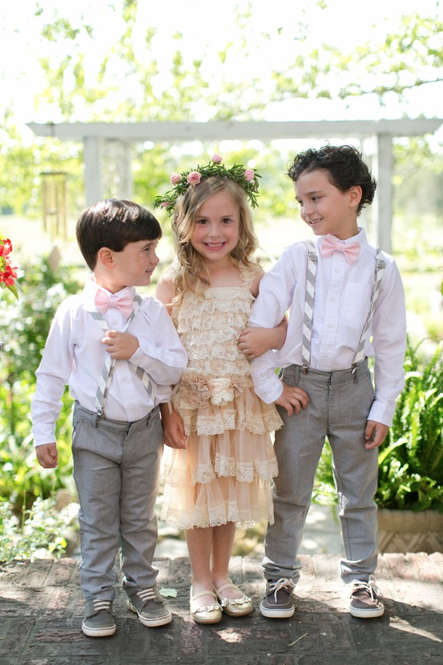 cute grey and pink ring bearers and boho flower girl