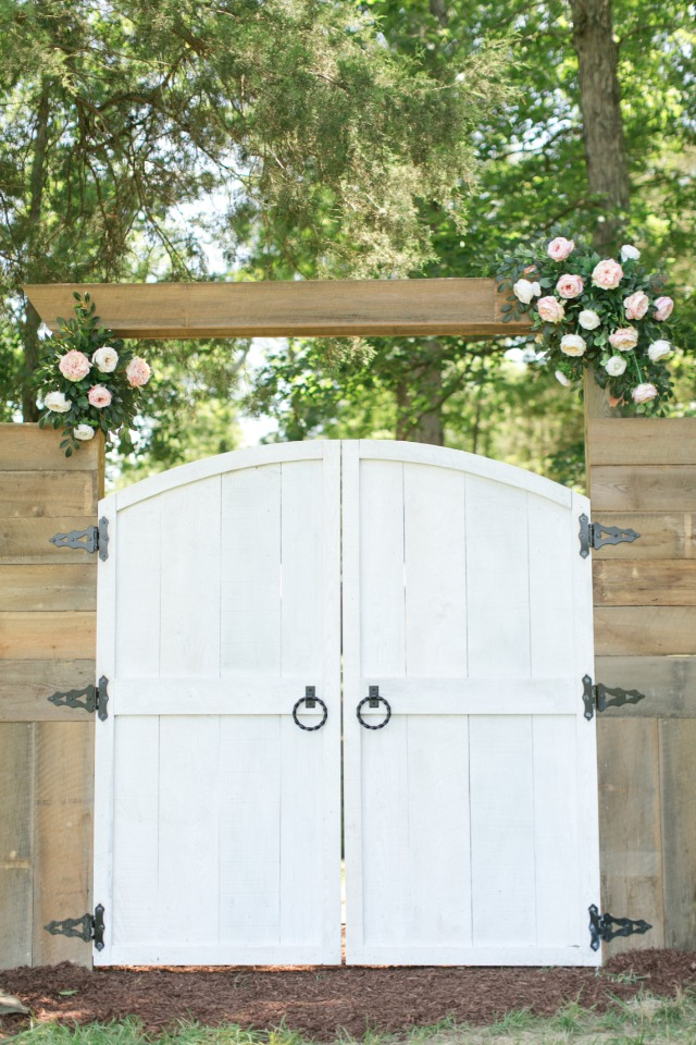 hand built wedding doorway