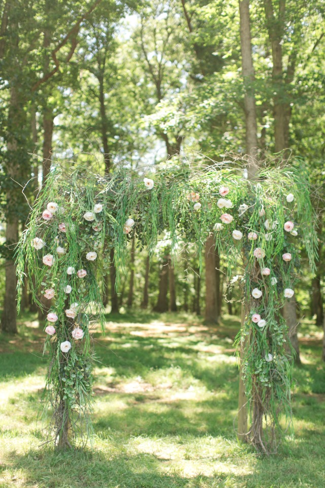 hand built floral wedding arch