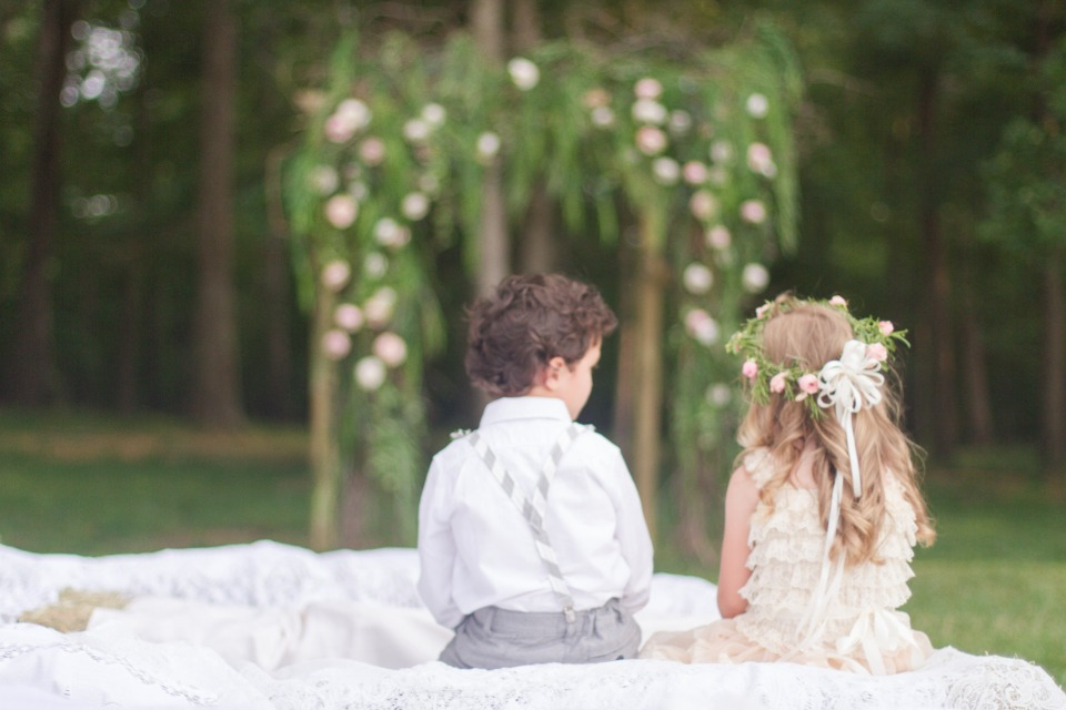 cute ring bearer and flower girl