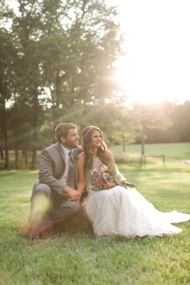 sunset bride and groom wedding portrait