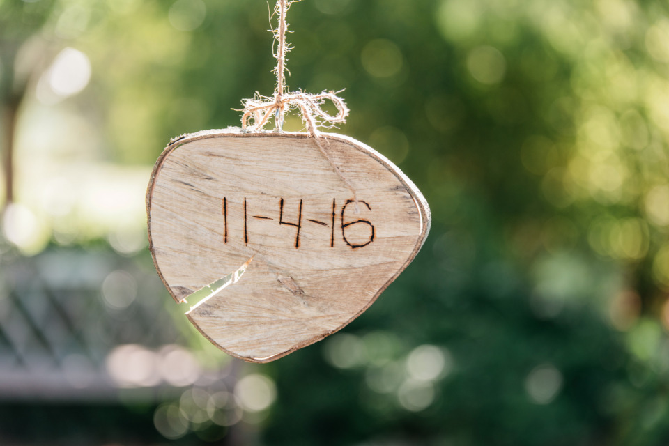 cute wooden wedding date keepsake