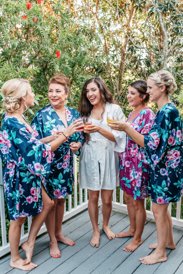 fun bright floral wedding getting ready robes