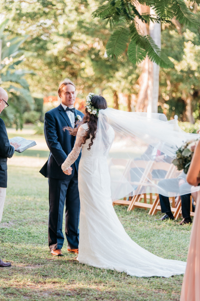 beautiful outdoor wedding ceremony at outdoor venue