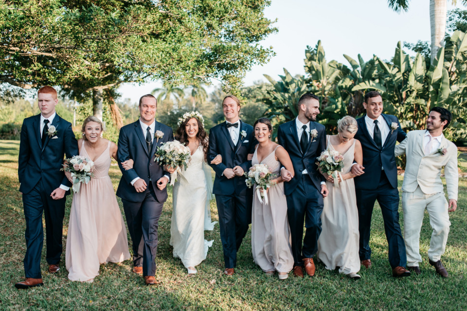 cute pink and navy wedding party attire