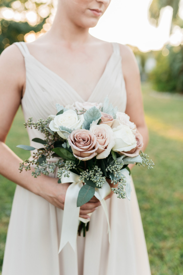 dusty pink and white wedding bouquet