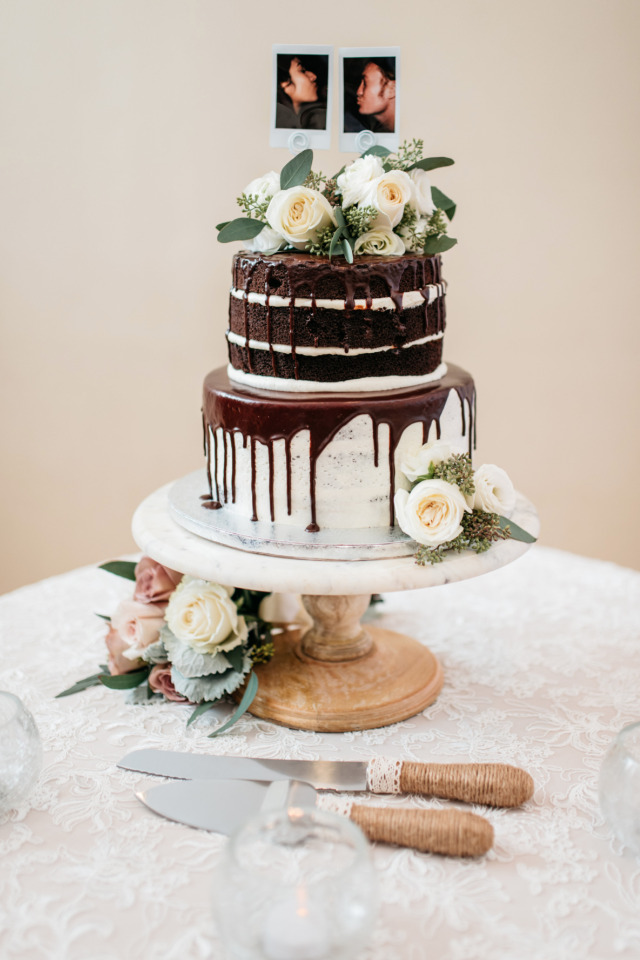 chocolate naked wedding cake with chocolate drizzle