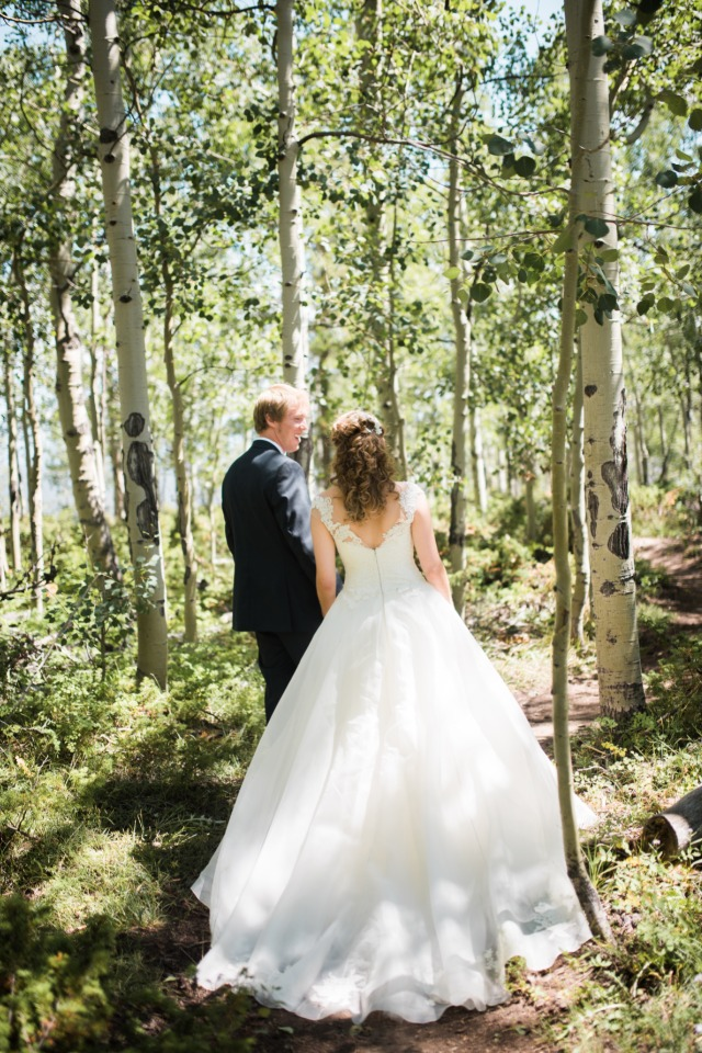 wedding walk in the forest