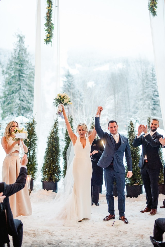 Just married in the snow