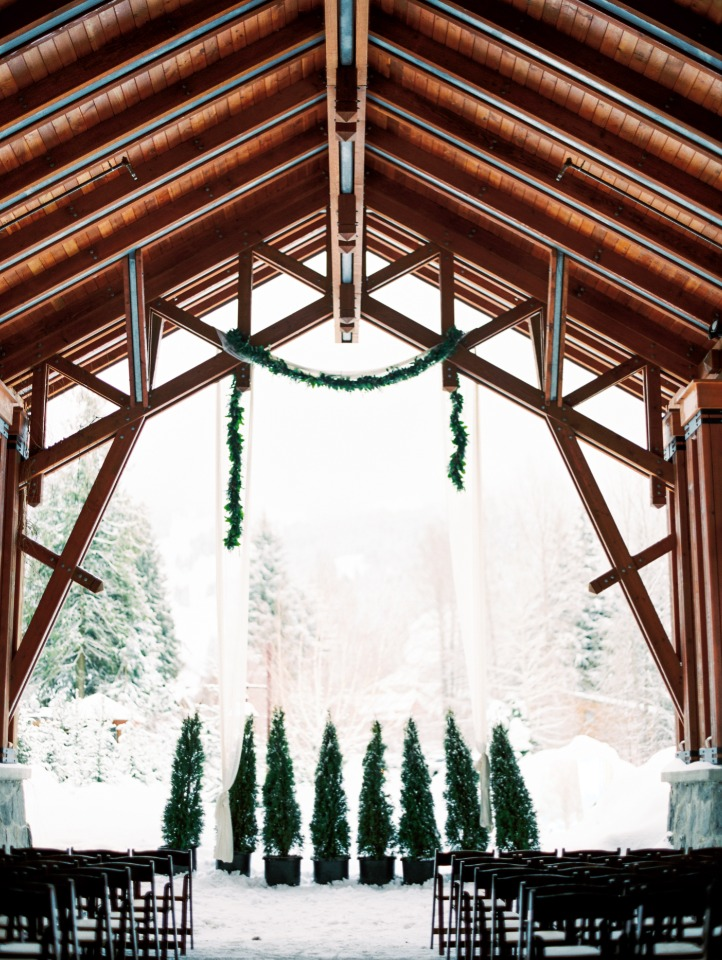 Elegant winter wonderland ceremony