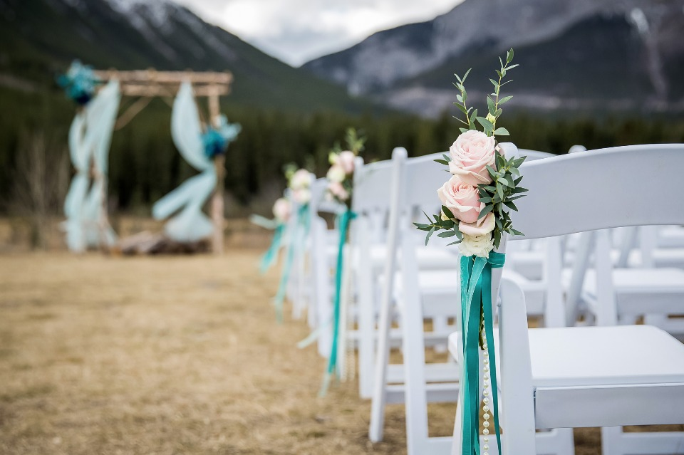 Floral + ribbon chair accents