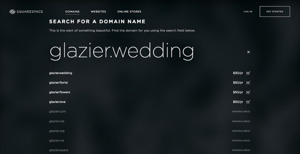 custom wedding domain name from Squarespace