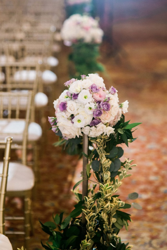pillar floral wedding aisle decor