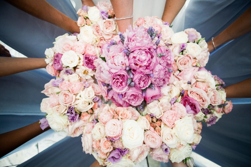 pink peach and purple wedding bouquets