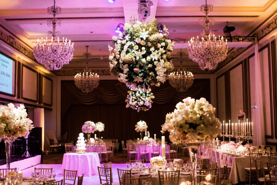 glam pink and gold wedding reception