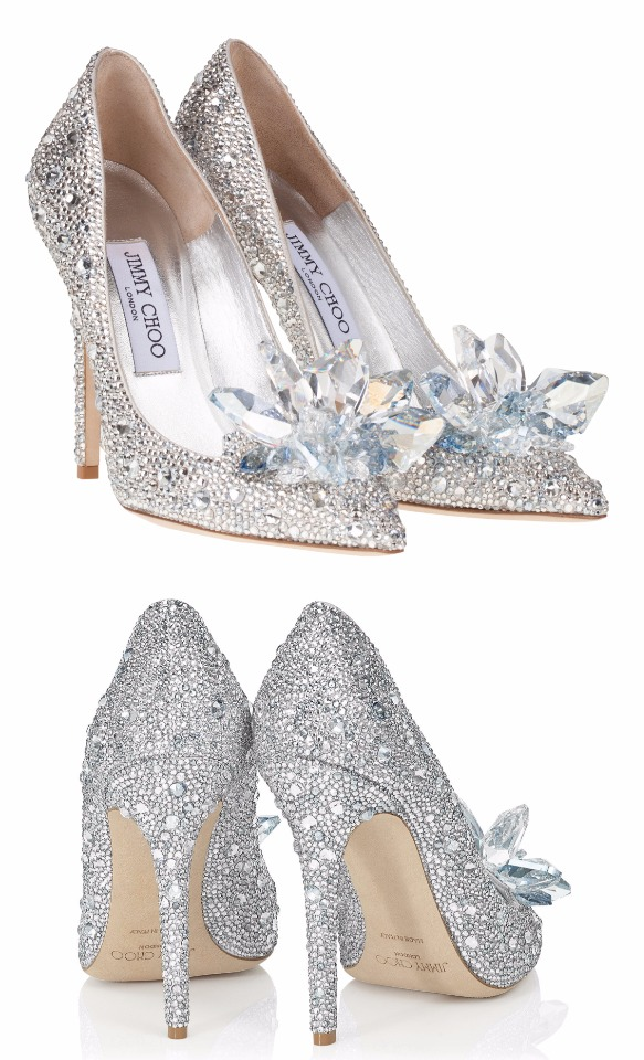 Crystal covered pointy toe pump Cinderella Slippers