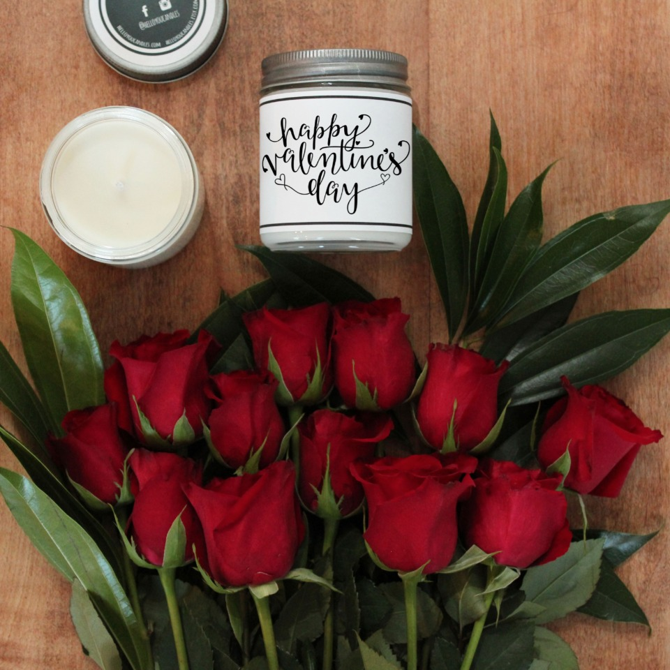 Valentines day candle from Hello You Candles
