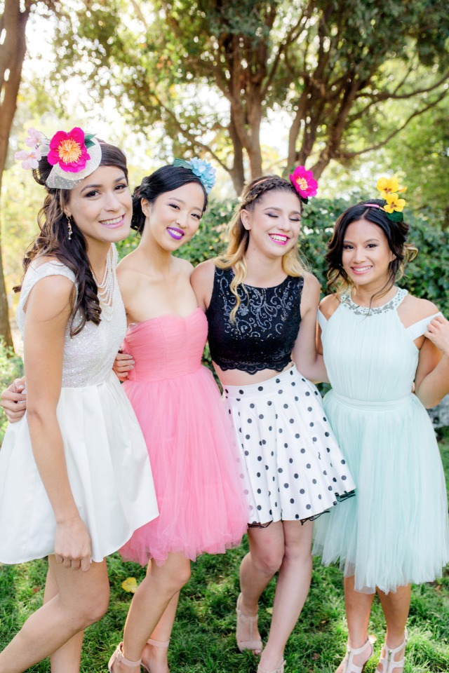 bride and her besties in Cyndi Lauper inspired dresses