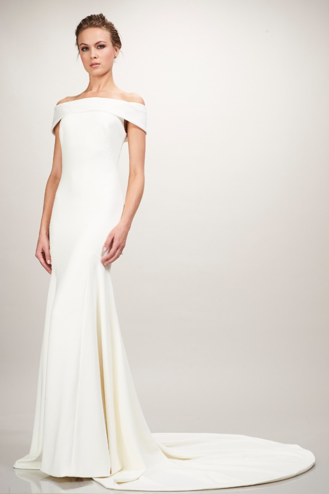 dramatic and modern Theia wedding gown