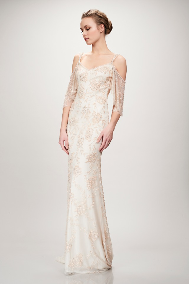 intricate beading on this Theia wedding gown