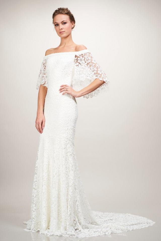 lacy off the shoulder wedding gown