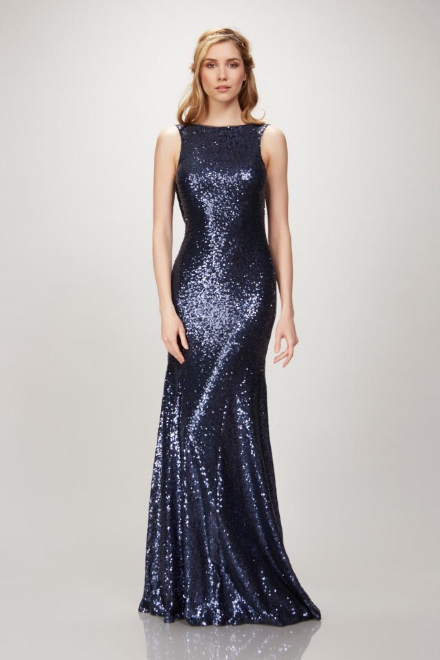 navy sequin Theia gown