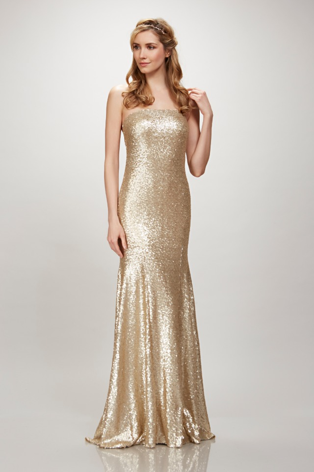 gold sequin Theia Gown