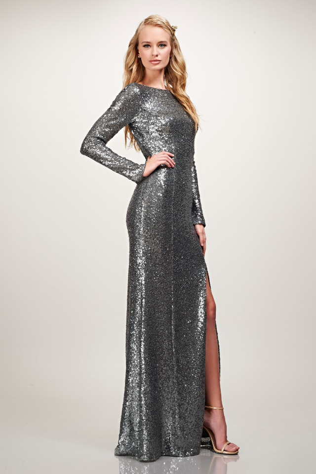 floor length long sleeve silver sequin gown