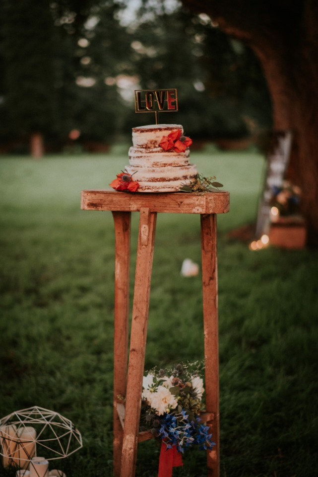 Rustic naked cake with LOVE topper