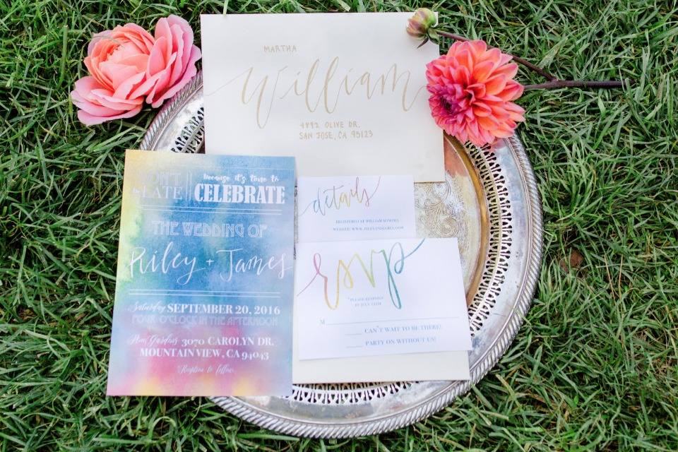 rainbow watercolor wedding stationery